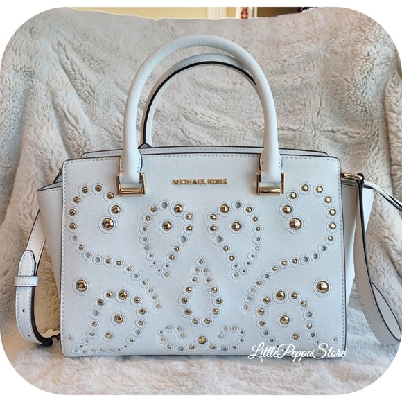 MICHAEL Michael Kors Handbags - MICHAEL KORS SELMA MEDIUM SATCHEL WHITE